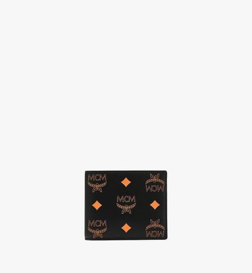 潑彩品牌標誌皮革對開錢包