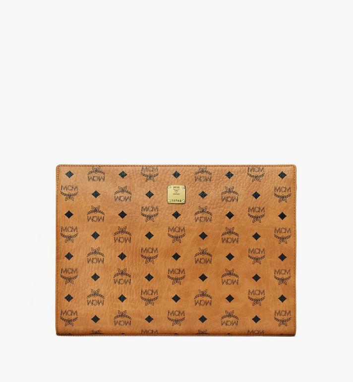 MCM Zip Pouch in Visetos Original Cognac MXZ8SVI71CO001 Alternate View 1