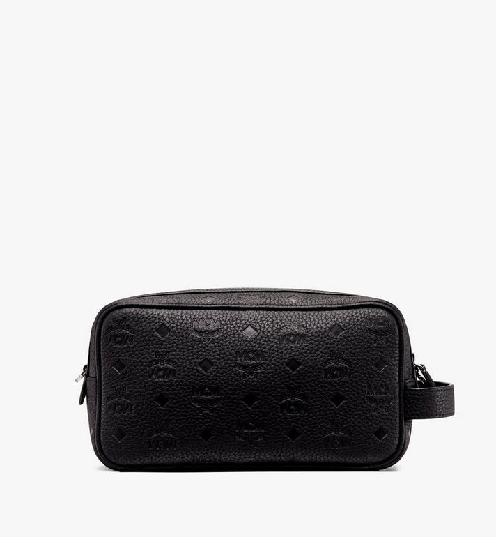 MCM Tivitat Wash Bag in Monogram Leather Black MXZ9ABT28BK001 Alternate View 3