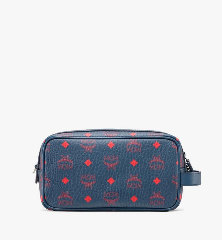 MCM Wash Bag in Visetos Blue MXZ9AVI55VS001 Alternate View 3