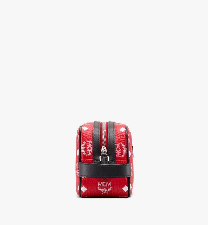 MCM Wash Bag in White Logo Visetos Red MXZ9AWA51AV001 Alternate View 2