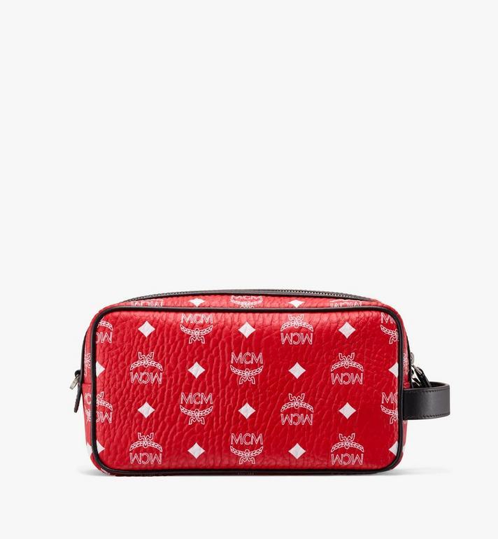 MCM Wash Bag in White Logo Visetos Red MXZ9AWA51AV001 Alternate View 3