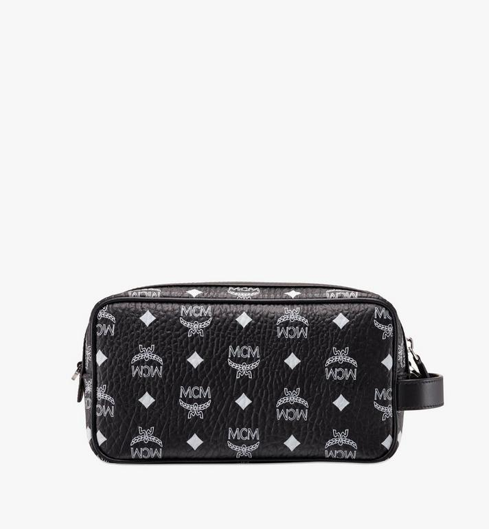 MCM Wash Bag in White Logo Visetos Black MXZ9AWA51BV001 Alternate View 3