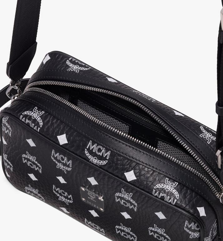 MCM Wash Bag in White Logo Visetos Black MXZ9AWA51BV001 Alternate View 4