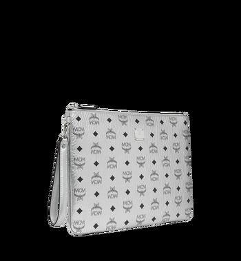 MCM Reissverschlusstasche mit Handgelenksband in Visetos Original Silver MXZ9SVI17SB001 Alternate View 2
