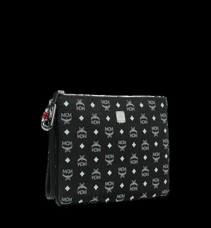 MCM Reissverschlussbeutel mit Handgelenksband mit Visetos-Logo in Weiss Black MXZ9SWA02BV001 Alternate View 2