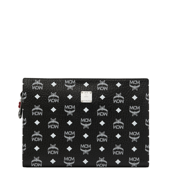 MCM Zip Pouch in White Logo Visetos Alternate View