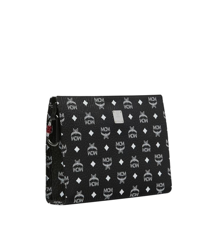 MCM Zip Pouch in White Logo Visetos Black MXZ9SWA04BV001 Alternate View 2