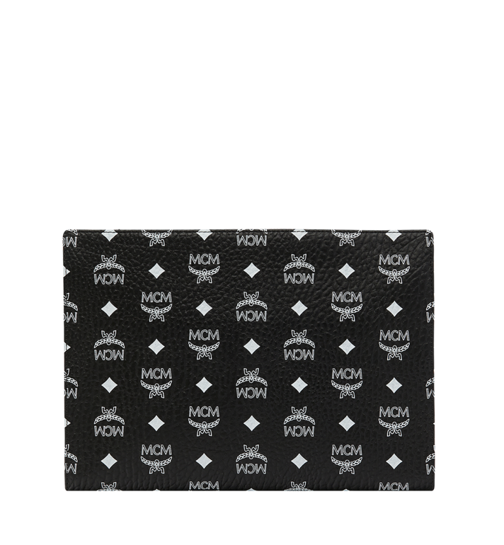 MCM Zip Pouch in White Logo Visetos Black MXZ9SWA04BV001 Alternate View 3