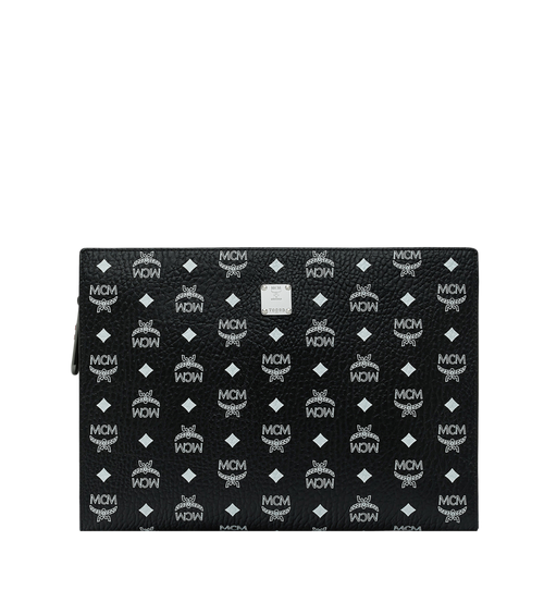 Zip Pouch in White Logo Visetos