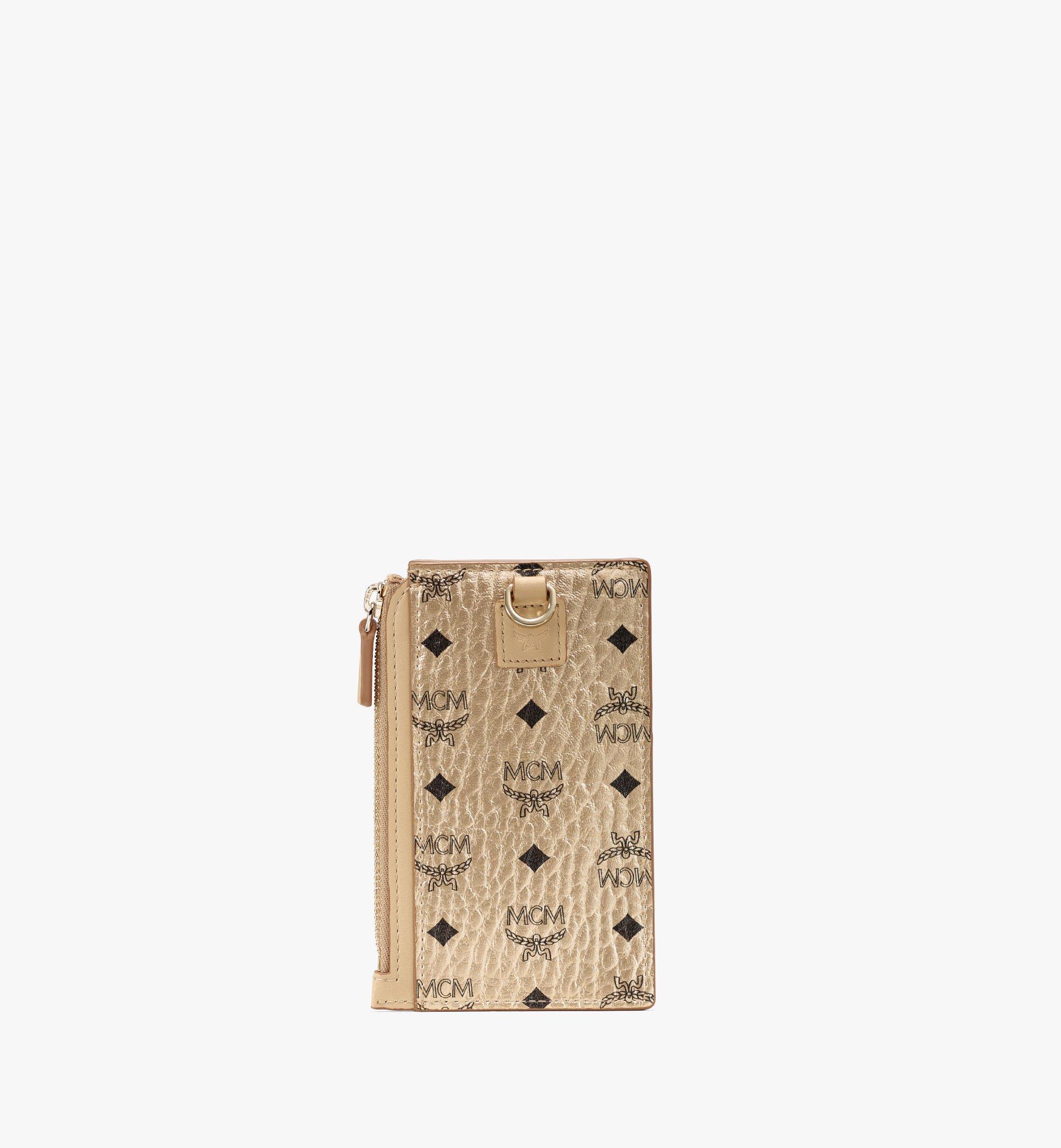 MCM Lanyard Card Holder in Visetos Original Gold MXZAAVI08T1001 Alternate View 3