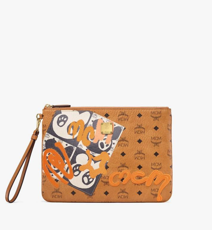 MCM Wristlet Zip Pouch in Berlin Bear Visetos Alternate View