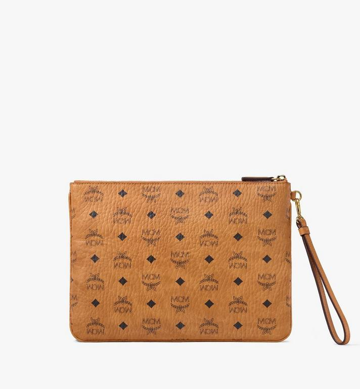 MCM Wristlet Zip Pouch in Berlin Bear Visetos Cognac MXZAAVI21CO001 Alternate View 3