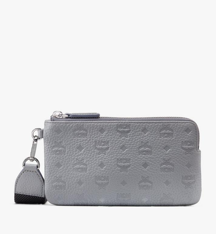 MCM Tivitat Tech Pouch in Monogram Leather Grey MXZASBT03FK001 Alternate View 1