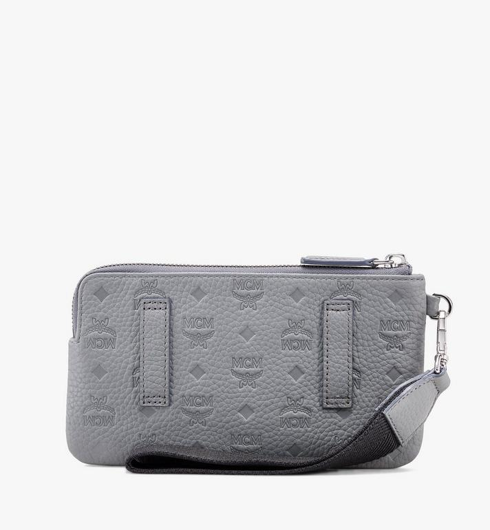 MCM Tivitat Tech Pouch in Monogram Leather Grey MXZASBT03FK001 Alternate View 2