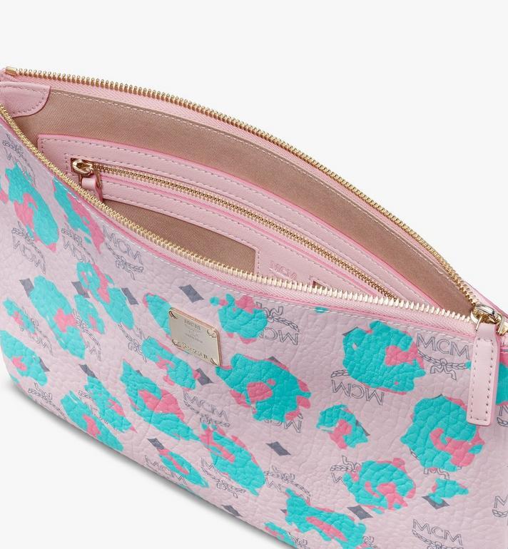 MCM Wristlet Zip Pouch in Floral Leopard Pink MXZASLF01QI001 Alternate View 3