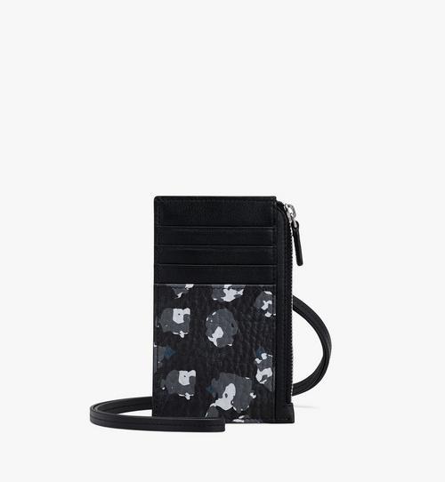花卉色豹纹挂绳卡包