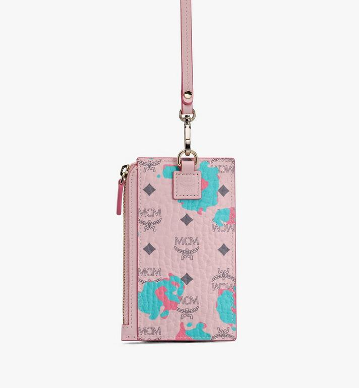 MCM Lanyard Card Holder in Floral Leopard Pink MXZASLF02QI001 Alternate View 2