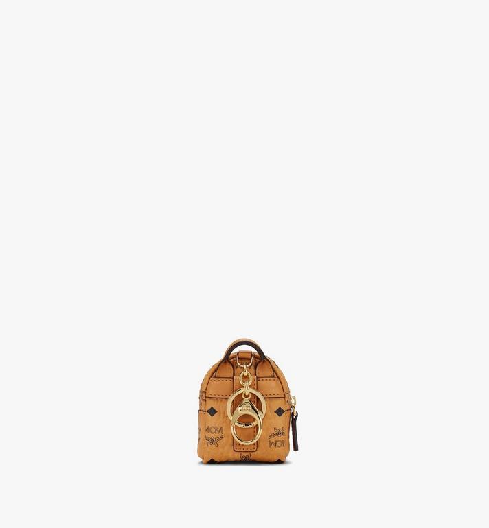 MCM Porte-clés sac à dos avec bandoulière en Visetos Cognac MXZASVI02CO001 Alternate View 3