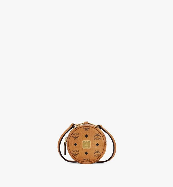 MCM Tambourine Charm with Crossbody Strap in Visetos Cognac MXZASVI03CO001 Alternate View 1