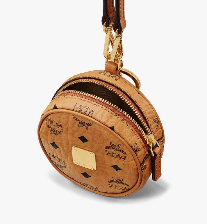 MCM Tambourine Charm with Crossbody Strap in Visetos Cognac MXZASVI03CO001 Alternate View 4
