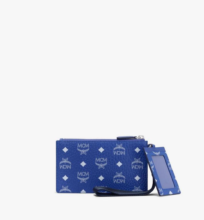 MCM Mini Wristlet Zip Pouch in Visetos Blue MXZASVI04H1001 Alternate View 2