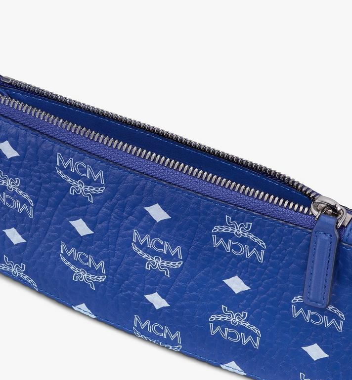 MCM Mini Wristlet Zip Pouch in Visetos Blue MXZASVI04H1001 Alternate View 3