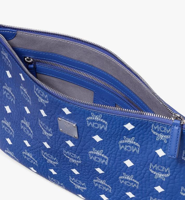MCM Wristlet Zip Pouch in Visetos Blue MXZASVI05H1001 Alternate View 3