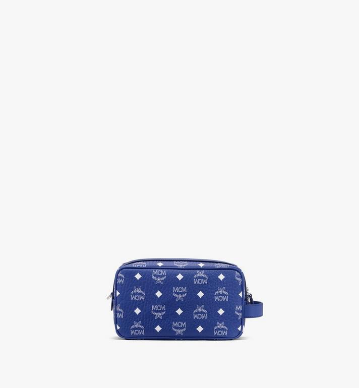 MCM Wash Bag in Visetos Blue MXZASVI07H1001 Alternate View 3