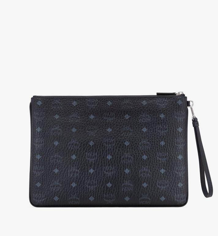 MCM Wristlet Zip Pouch in Visetos Black MXZASVI08BK001 Alternate View 2
