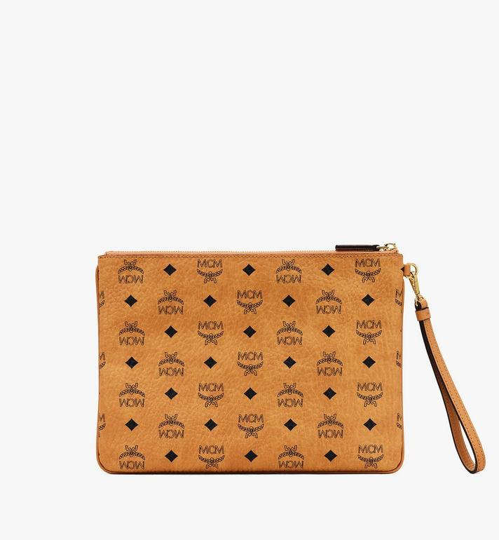 MCM Wristlet Zip Pouch in Visetos Cognac MXZASVI10CO001 Alternate View 2