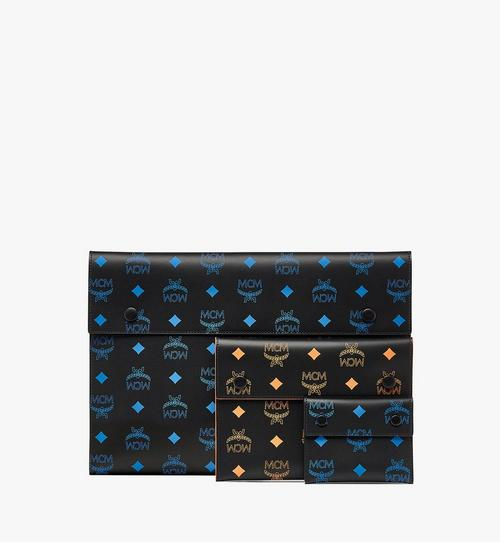 กระเป๋าเพาช์ทรีโอวัสดุหนังลายโลโก้ Color Splash