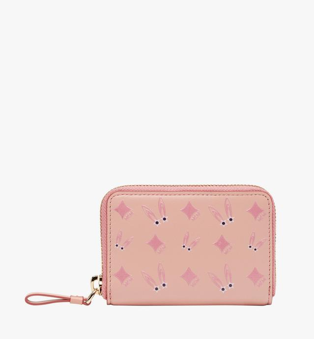 Star Eyed Bunny Zip Around Card Case in Leather