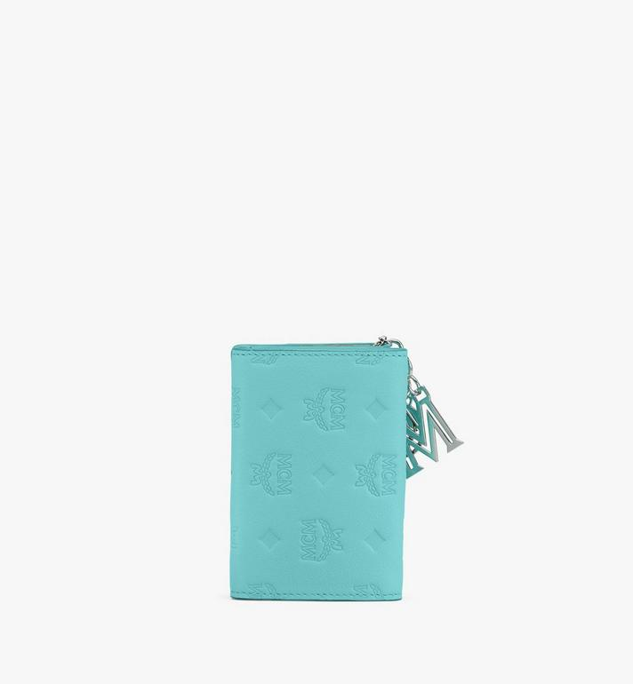 MCM Klara Mini Trifold Wallet in Monogram Leather Blue MYAASKM01H3001 Alternate View 2