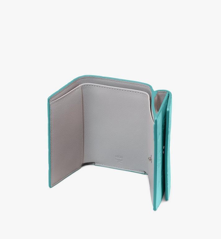 MCM Klara花押字圖案皮革迷你三折錢包 Blue MYAASKM01H3001 Alternate View 3