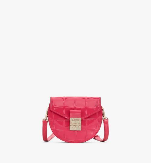 Rundliche Patricia Brieftasche aus Lackleder mit Stern-Monogramm
