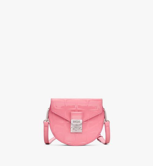 Rundliche Patricia Crossbody-Brieftasche aus Lackleder mit Rautenmuster