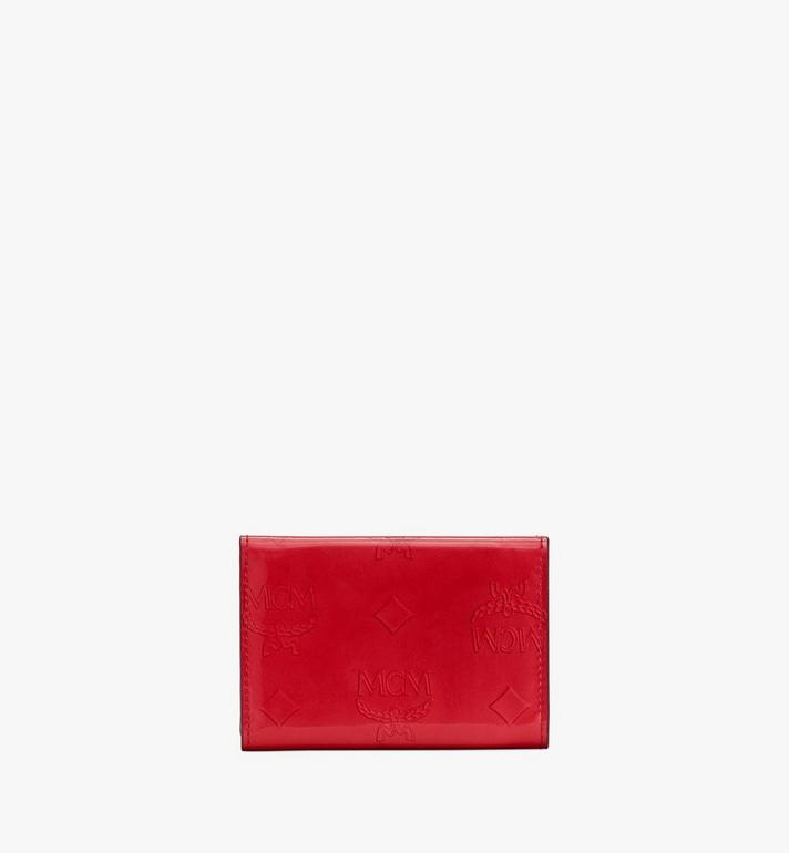 MCM Mini Card Wallet in Metallic Monogram Leather Red MYAASPM01R4001 Alternate View 2