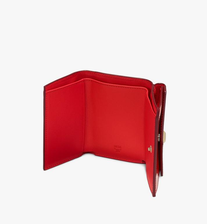 MCM Mini Card Wallet in Metallic Monogram Leather Red MYAASPM01R4001 Alternate View 3