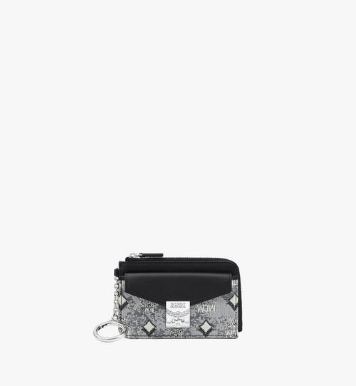 กระเป๋าใส่บัตรปิดด้วยซิปผ้าแจ็คการ์ดลายโมโนแกรมวินเทจ