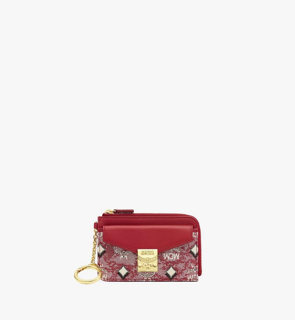 กระเป๋าใส่บัตรปิดด้วยซิปผ้าแจ็คการ์ดลายโมโนแกรมวินเทจ 1