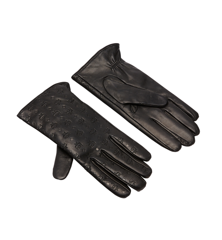 MCM Men's Monogram Leather Gloves Alternate View 1