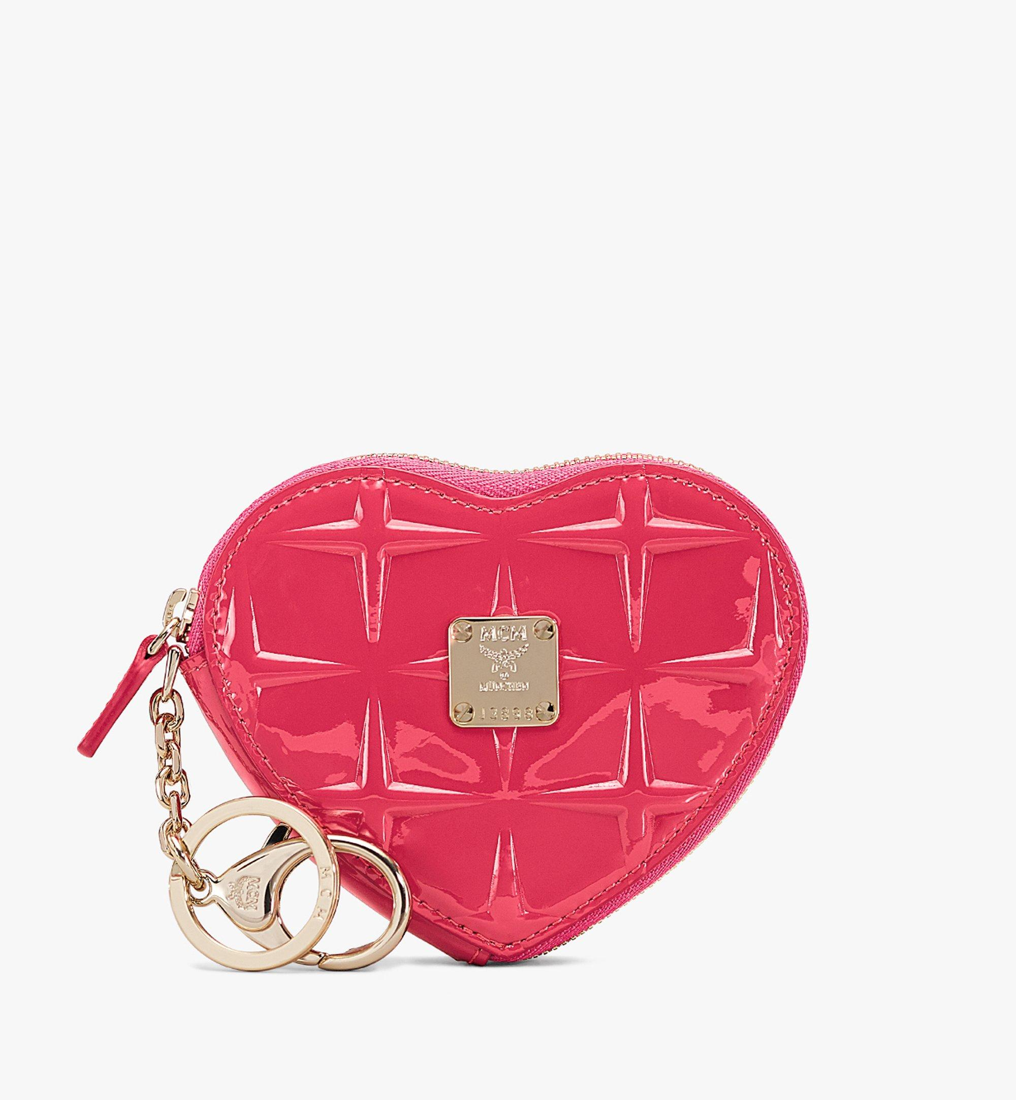 MCM Heart Coin Pouch Charm in Diamond Patent Leather  MYIASDQ01QE001 Alternate View 1