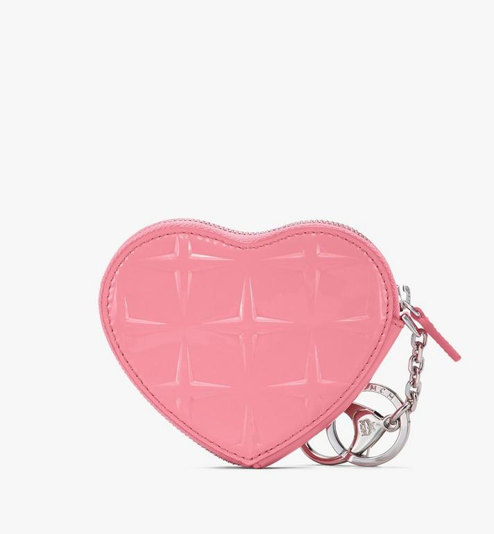MCM Heart Coin Pouch Charm in Diamond Patent Leather Pink MYIASDQ01QG001 Alternate View 2