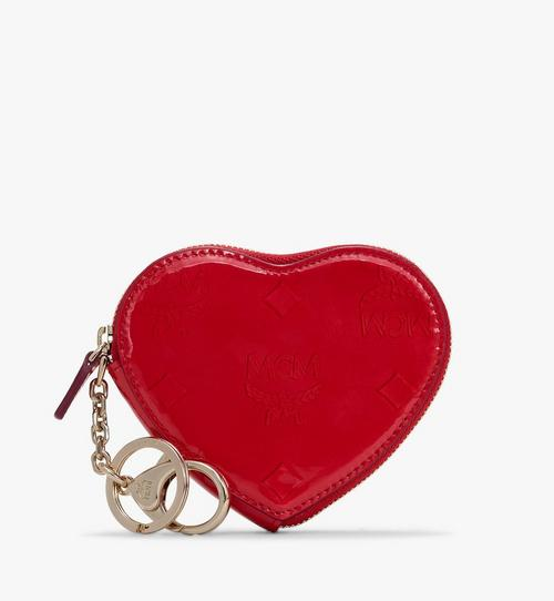 Heart Coin Pouch in Metallic Monogram Leather