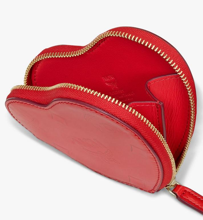 MCM Heart Coin Pouch in Metallic Monogram Leather Red MYIASPM01R4001 Alternate View 3