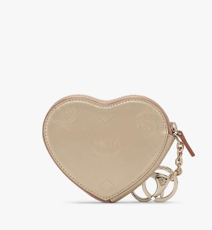 MCM Heart Coin Pouch in Metallic Monogram Leather Gold MYIASPM01T1001 Alternate View 2