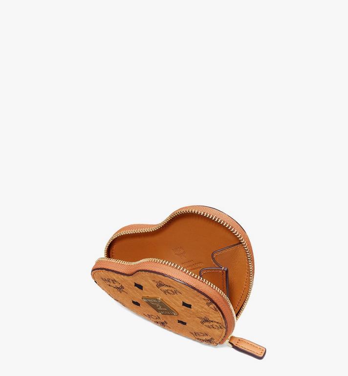 MCM Heart Coin Pouch Charm in Visetos Cognac MYIASVI01CO001 Alternate View 3