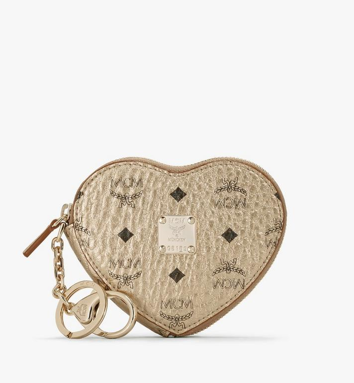 MCM Heart Coin Pouch Charm in Visetos Alternate View