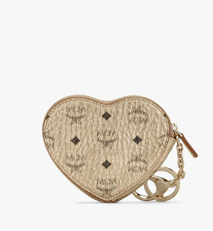 MCM Heart Coin Pouch Charm in Visetos Gold MYIASVI01T1001 Alternate View 2